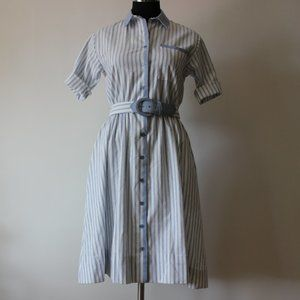 Vintage Striped Blue and White Dress